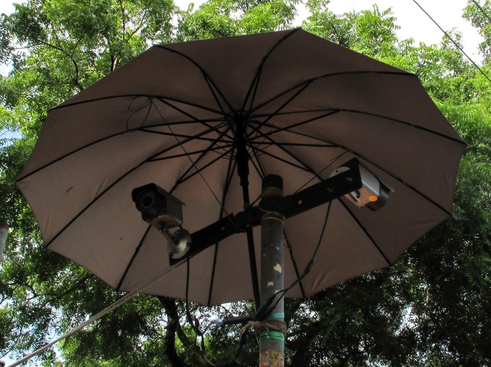 Our modern security cameras are ready and waiting, well prepared for the monsoon.