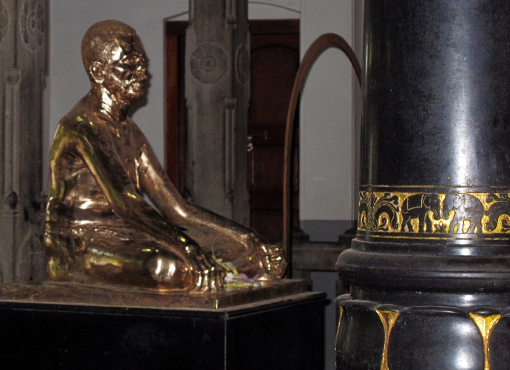 Midas touched this statue recently, much to the horror of Ramana's memory.  It happened in the night!  It's only gold-plated, but it is Real-Gold plated.