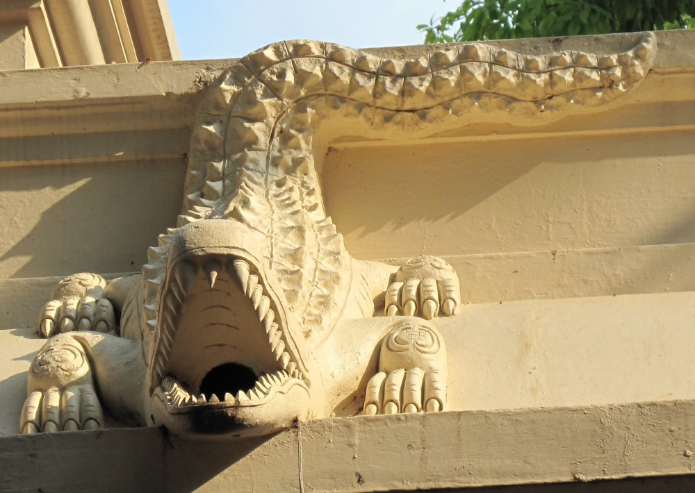 Crocodile drainpipes for the spectacular monsoon splash.